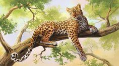 Beautiful Leopard On Tree Branch Needlepoint Canvas Leopard Wallpaper, Animal Wallpaper, Cross Paintings, Animal Paintings, Leopard Tapete, Art Pictures, Animal Pictures, Art Et Nature, Tier Wallpaper