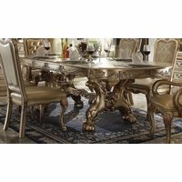 """Dresden 76""""-108"""" Double Pedestal Dining Table In Gold Patina Carved Wood"""