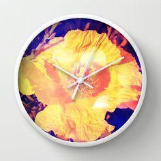 Eerie Amethyst Yellow Poppy Blossom Wall Clock