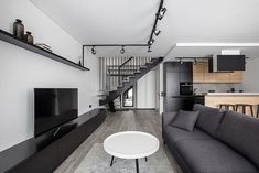 Burbiskiu Apartment was recently completed by Rimartus Design Studio in Vilnius, Lithuania. Combination of black, white, grey, a little wood . Modern Apartment Design, Condo Design, Loft Design, Home Design Decor, Apartment Interior, Modern Interior Design, House Design, Buy My House, Game Room Design