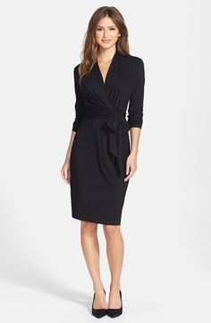 @nordstrom three quarter sleeve faux wrap dress. #nordstrom