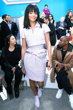 Rhianna in #Chanel Couture including Chanel sneakers at Chanel #pfw FW14 show via Harper's BAZAAR