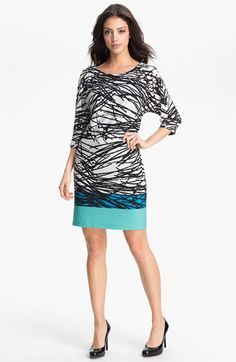 Adrianna Papell Boatneck Print Shift Dress available at #Nordstrom