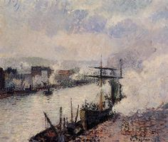Page: Steamboats in the Port of Rouen Artist: Camille Pissarro Completion Date: 1896 Style: Impressionism Genre: cityscape Technique: oil Material: canvas Dimensions: 45.7 x 54.6 cm Gallery: Metropolitan Museum of Art, New York City Tags: boats-and-ships, Normandy, Rouen