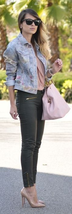 I could never pull this off, but I like this styled outfit... Jocavi Floral Denim Jacket by Necklace Of Pearls