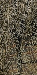 Vintage Deco 1920s Burnished Gold Metallic Embroidered Lace Cape or Shawl