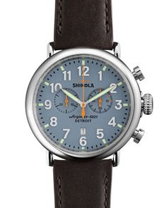 47mm Runwell Chrono Watch, Dark Brown/Blue by Shinola at Neiman Marcus.