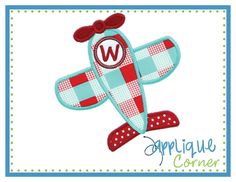 INSTANT DOWNLOAD Airplane for Monogram applique design in digital format for embroidery machine by Applique Corner on Etsy, $4.00