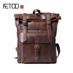 AETOO Retro Handmade Genuine Leather Backpack