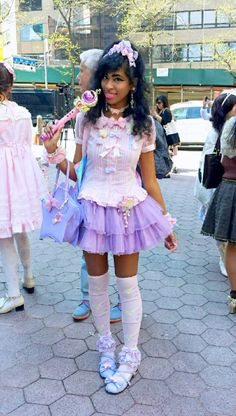 "fairy-tips: sanriopalace: coord. My magical girl inspired outfit for Sebastian Masuda's ""Time After Time Capsule"" event in NYC. (sorry for the horrible photo quality lol) this is perfect ! Estilo Harajuku, Harajuku Girls, Harajuku Fashion, Kawaii Fashion, Lolita Fashion, Cute Fashion, Grunge Goth, Magical Girl, Visual Kei"