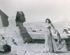 """Veteran Egyptian belly dancer Samia Gamal by the Sphinx. Must be related to the filming of """"Valley of the Kings"""", so in 1954? سامية جمال"""
