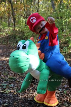 Cool Homemade Illusion Costume for a Toddler: Its Me Mario… And Yoshi Too!... Coolest Homemade Costumes