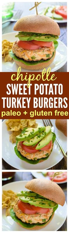 Chipotle Sweet Potato Turkey Burgers. Healthy, freezer-friendly, and ready in only 30 minutes! (paleo, gluten free)