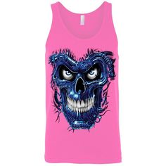 Men's Tank Top Shirt Blue Robotic Skull