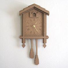 Cardboard Cuckoo Clock  Modern Minimal Laser Cut Wall by seequin,