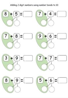 21 Adding 10 to A Number Worksheet Adding 2 digit numbers using number bonds to 10 clasa 0 Math Classroom, Kindergarten Math, Teaching Math, Teaching Ideas, First Grade Math Worksheets, 1st Grade Math, Number Bonds To 10, Singapore Math, Math School