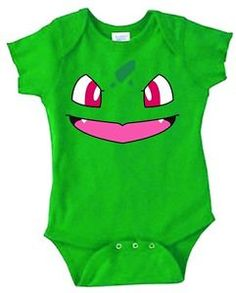 Inspired by Bulbasaur face Pokemon Onesie new born to 24 months very cute