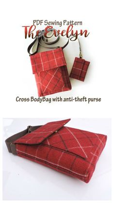 Crossbody bag, purse or shoulder bag pattern. Ideal for medium weight fabrics. A nice easy sewing pattern with detachable coin purse too. From Spencer Ogg Sewing Patterns Easy Sewing Projects, Sewing Projects For Beginners, Sewing Hacks, Sewing Ideas, Bag Patterns To Sew, Sewing Patterns Free, Pattern Sewing, Diy Baby Headbands, Leftover Fabric