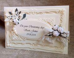 Handmade card by Reelika. Used Spellbinders Rectangles Die, Ivory card stock, Memory Box Die Massa Leaf, some ivory half pearls :)