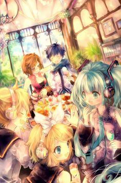 Vocaloids!! (from left to right) Rin, Len, Meiko, Kaito, and Miku <3