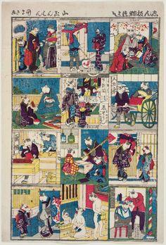 Utagawa Kunisada III: Newly Published Collection of Cats (Shinpan neko tsukushi) - Museum of Fine Arts
