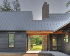Brown standing seam metal room, modern/traditional design mix.