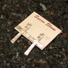 Handcast Silver Cross Earrings – ChristianGiftsPlace.com Online Store