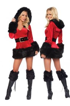 3 Piece Hooded Fur Trim Velvet Santa Costume Stunning new faux fur trim hooded velvet Santa dress for the Holidays! Includes zip front hooded velvet Santa dress and belt, boot Covers. Sexy Christmas Outfit, Christmas Fancy Dress, Christmas Lingerie, Santa Christmas, Black Christmas, Cheap Christmas, Christmas Outfits, Christmas Stockings, Santa Dress