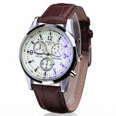 Aliexpress.com: Compre Essencial Brown moda de luxo Faux Leather Mens Ray vidro analógico Quartz relógio de pulso pulseira vestido relógios de confiança vestido de jade fornecedores em Sunshine Outdoors Store