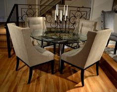 #HPMKT Designmaster Furniture Franklin #transitional #winged #dining chair with new #metallic cement tone chenille