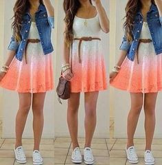 Really goes together- cute dress, denim jacket, white converse and small sling purse