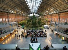 Housed within Madrid's largest railway station is a 43,056-square-feet tropical garden. The Atocha Station greenhouse features more than 7,000 plants and a pond that's home to fish and turtles. The garden sits under a massive arched skylight and is fed by an indoor sprinkler system that falls from the ceiling like a London mist.