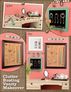 Let your jewelry and make-up displays become a work of art! Use a rainy day to organize your vanity and desk with memo boards!
