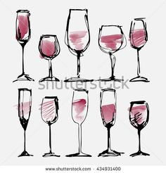 Wine glass set - collection sketched watercolor wineglasses and silhouette