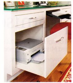 Fake cabinet front on rollers for printer storage - Office Desk - Ideas of Office Desk Office Nook, Home Office Space, Home Office Design, Home Office Decor, At Home Office Ideas, Desk Office, Printer Storage, Printers Drawer, Desk Storage