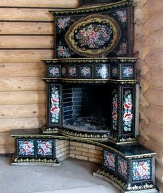 This fireplace is German/ Russian architecture & masonry work in an upper class household. Stove Fireplace, Fireplace Design, 1930s Fireplace, Mosaic Fireplace, Victorian Fireplace, Vintage Stoves, Antique Stove, Russian Architecture, Interior And Exterior