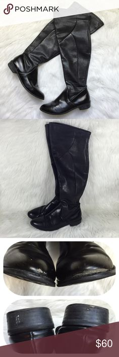 """Black Over the Knee Boots Tahari """"Richmond"""" boots ➵ black faux leather ➵ round toe ➵ heel measures approx. 1.25"""" ➵ boot shaft measures approx. 19"""" ➵ please note all flaws as seen in pictures ➵ front sole on one boot can be repaired ➵ small scuffs on leather ➵ 14"""" calf circumference that can also stretch to wider fit Tahari Shoes Over the Knee Boots"""
