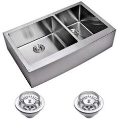 Water Creation Farmhouse Apron Front Small Radius Stainless Steel 36 in. Double Basin Kitchen Sink with Strainer in Satin SSS-AD-3622C at The Home Depot - Mobile