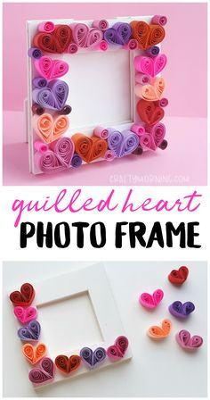 Make a fun quilled heart photo frame for a valentines day gift or craft idea. - Make a fun quilled heart photo frame for a valentines day gift or craft idea. Quilling Craft, Quilling Designs, Paper Quilling, Valentines Day History, Valentine Day Crafts, Holiday Crafts, Valentines Art For Kids, Winter Crafts For Kids, Diy For Kids