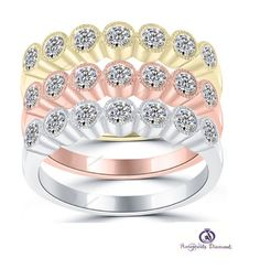 1-1/4 CT Bezel Setting Tri Color Round Cut Diamond Women's Wedding Band Ring Set #aonejewels