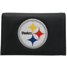Rico Pittsburgh Steelers Embroidered Tri Fold Wallet by Hall of Fame Memorabilia. $27.99. Includes a plastic picture insert Decorated in the team colors Officially licensed. Made in USA. Tri-fold wallet. leather. Holds approximately four credit cardsFull-color team logo embroidered on the front. Clear plastic identification slot. The officially licensed Pittsburgh Steelers tri-fold wallet from RICO Industries holds approximately four credit cards and has a clear plastic slot f...
