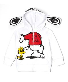 Take a look at this White Snoopy 'Joe Cool' Ear Zip-Up Hoodie - Toddler on zulily today!