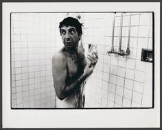 Leonard Cohen in the shower, 1972.  Photograph by Arnaud Maggs. Found at Library and Archives Canada.