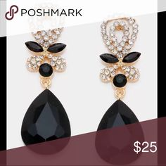 "Drop Austrian Crystal Rhinestone Earrings Formal Long Black Drop Austrian Crystal Pageant Rhinestone Earrings Formal.   • Size : 0.7"" W, 2.3"" L  • Post Back Bridal wedding formal evening belly dancing chandelier   Add these to your collection. Jewelry Earrings"
