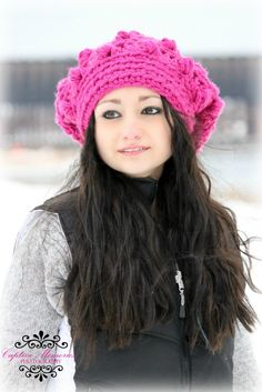 Pink Slouchy Beanie Crochet Hat for Women Teen Hat Pink Winter Hat Chunky Hat. $40.00, via Etsy.