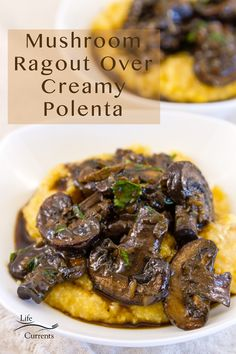 A rich and savory mushroom stew served over creamy polenta for a stunning vegetarian main dish. This Mushroom Ragout Over Creamy Polenta is a great hearty dinner with deep, earthy flavor that will impress guests and family alike. Herb Recipes, Side Recipes, Whole Food Recipes, Great Recipes, Amazing Recipes, Favorite Recipes, Vegetarian Main Dishes, Vegetarian Recipes, Savoury Dishes