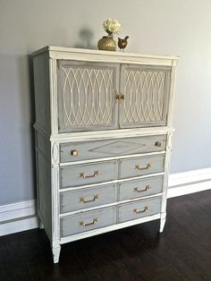 White Gold Leaf Highboy Dresser Custom Order For Emily Uproar Decor Upcycled Furniture In 2018 Pinterest Painted And