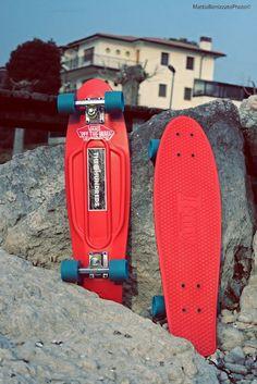 penny skateboarding, beach red