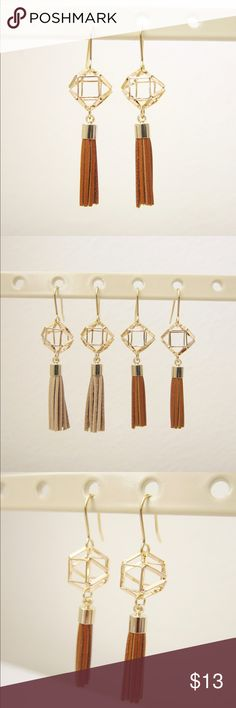 Geometric dangle tassel earrings- Brown This dangling tassel earrings are perfect accessories for your casual or formal outfits. It adds some bohemian and playful vibe to your look.  Made in Korea. Jewelry Earrings