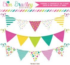 Teal Magenta Green Yellow Banner Flag Clipart – Erin Bradley/Ink Obsession…